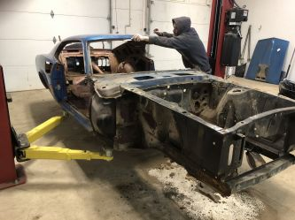 Pennsylvania Mustang is being stripped to begin restoration.